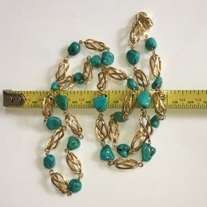 Jewelry - Solid 18KT Yellow Gold Stations Turquoise Necklace